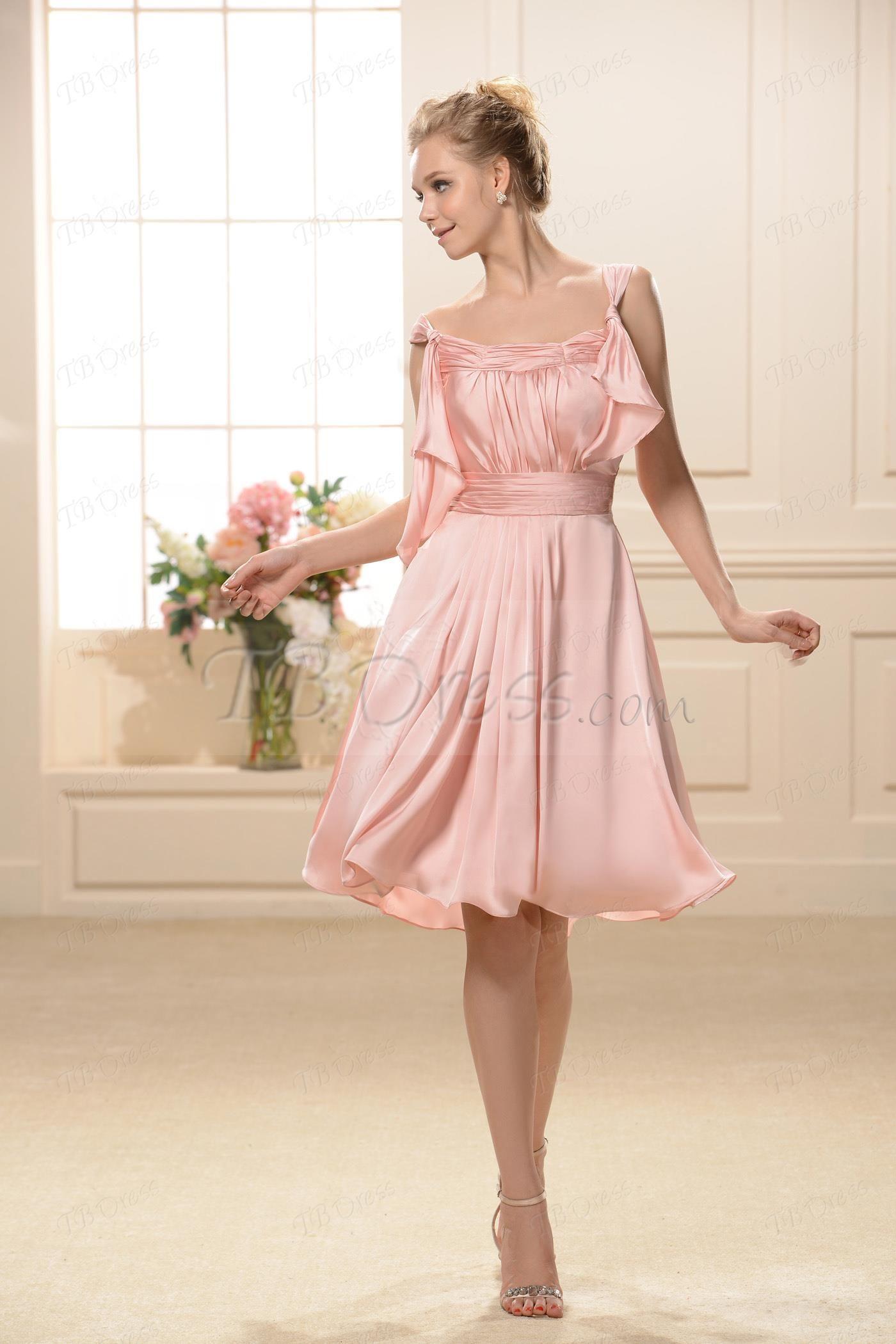 Straps Empire Waist Knee-Length Bridesmaid Dress