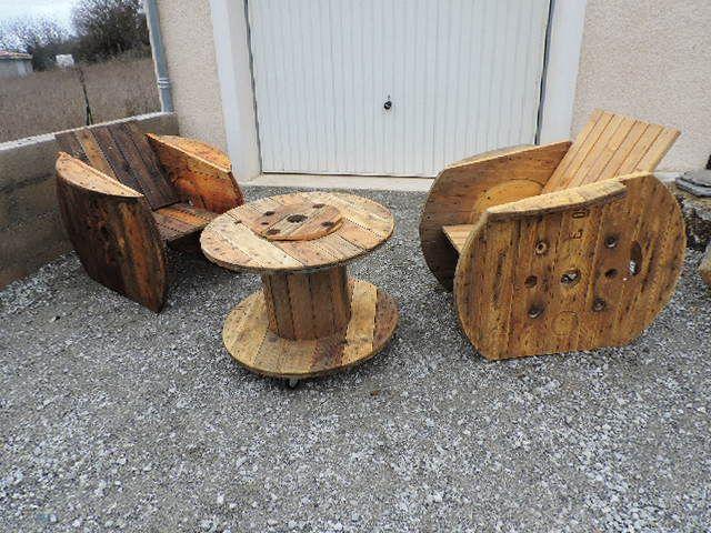 salon de jardin en tourets wooden