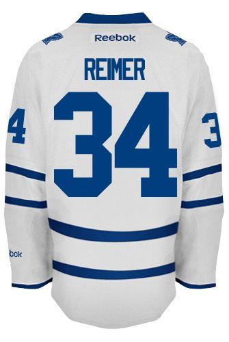 4d475df07 ... Toronto Maple Leafs Goalie James REIMER 34 Official Away Reebok Premier  Replica NHL Hockey Jersey ...
