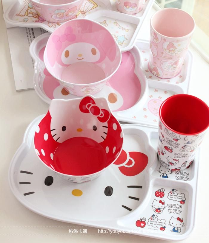 HELLO KITTY kitchen Dinnerware sets plastic cup kit school lunch dinner set for kids promotion cartoon & HELLO KITTY kitchen Dinnerware sets plastic cup kit school lunch ...