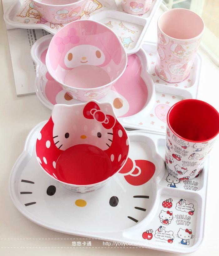 HELLO KITTY kitchen Dinnerware sets plastic cup kit school lunch ...