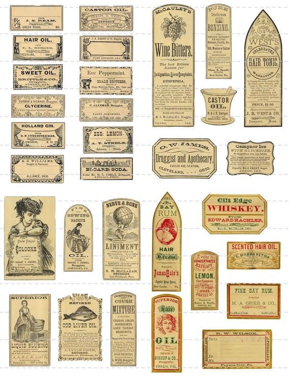 photo about Free Printable Vintage Apothecary Labels named Instantaneous Electronic Obtain Collage Sheet Antique 1800s