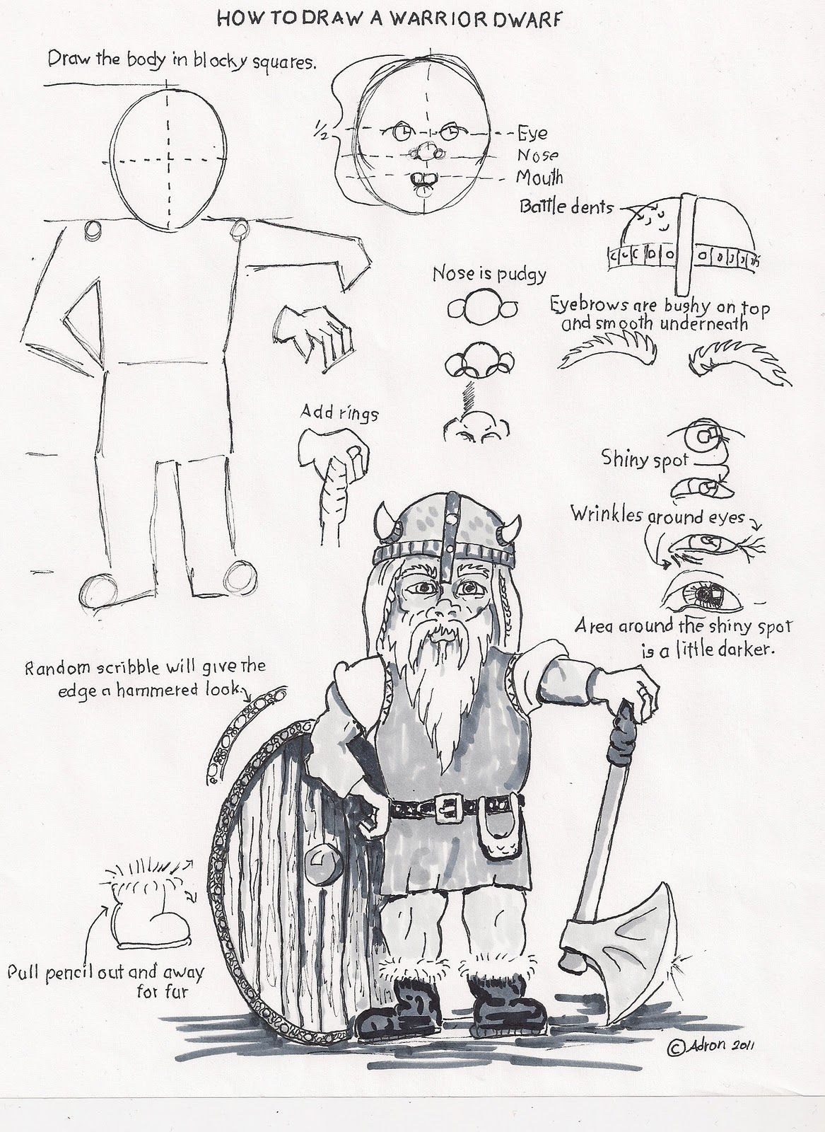 How To Draw A Warrior Dwarf A Project For A Young Artist