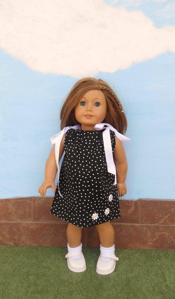Black Polka Dot Doll Dress Pillowcase Dress Black by DonnaDesigned