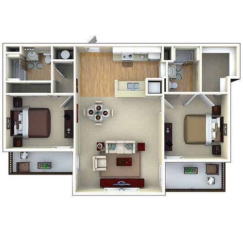 2bedroom 3d Floor Plan Glenbrook Apartments In Sarasota Fl House Layout Plans Architectural Floor Plans Tiny House Floor Plans