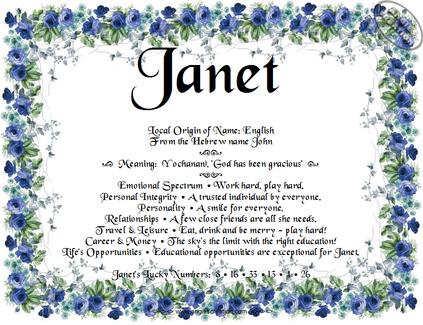 The Meaning Of The Name Janet Names With Meaning True