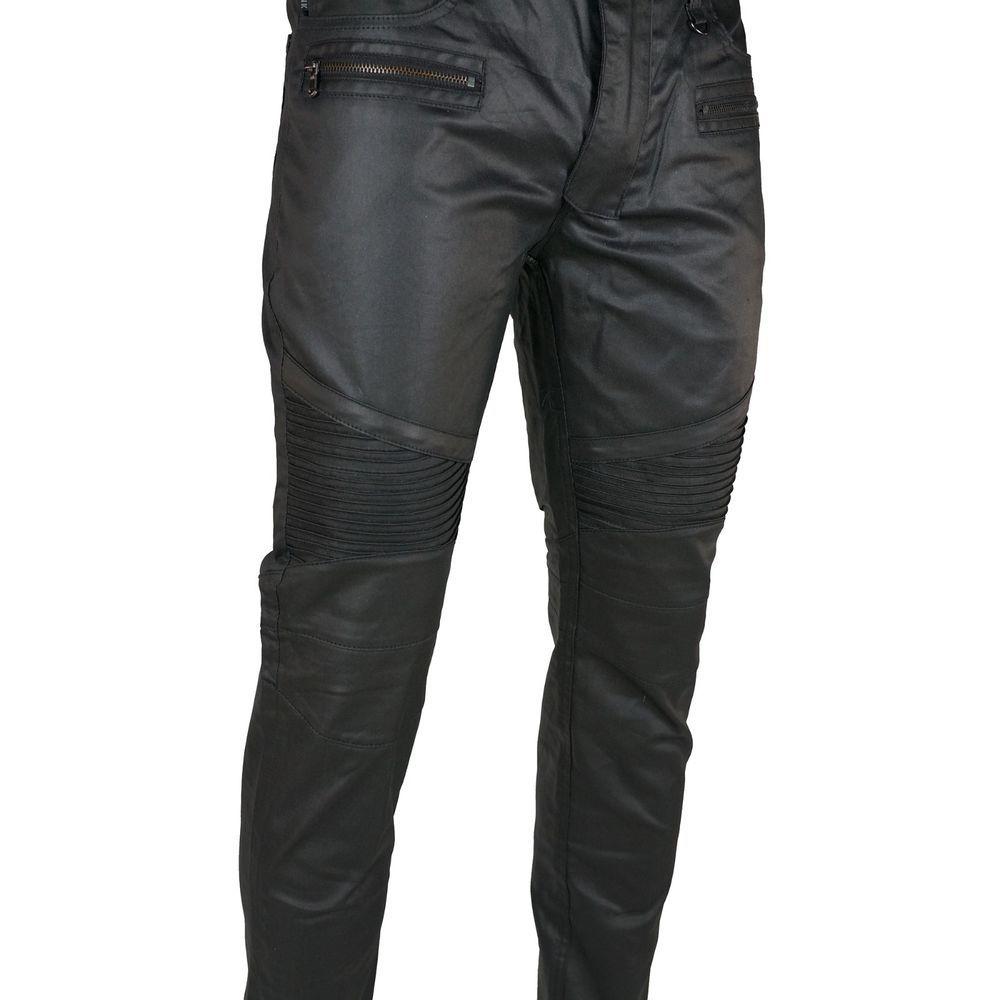 K Men's Wax Coated Slim Fit Biker Jeans Pants Black