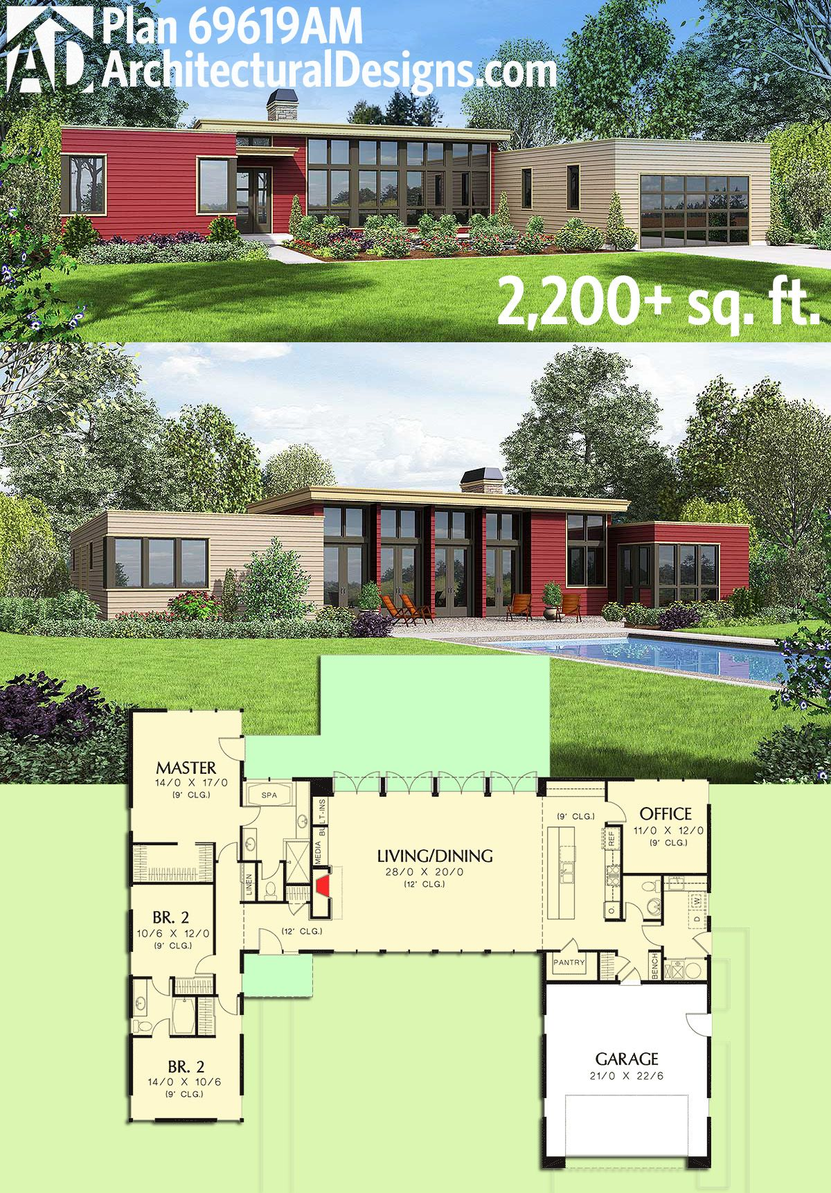 Plan 69619am 3 bed modern house plan with open concept for Open plan modern house
