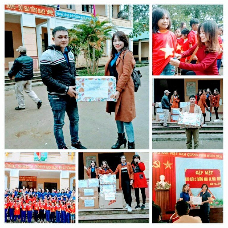Áo cờ đỏ sao vàng trường tiểu học Vĩnh Thủy dành tặng cho trường tiểu học Vĩnh Hà