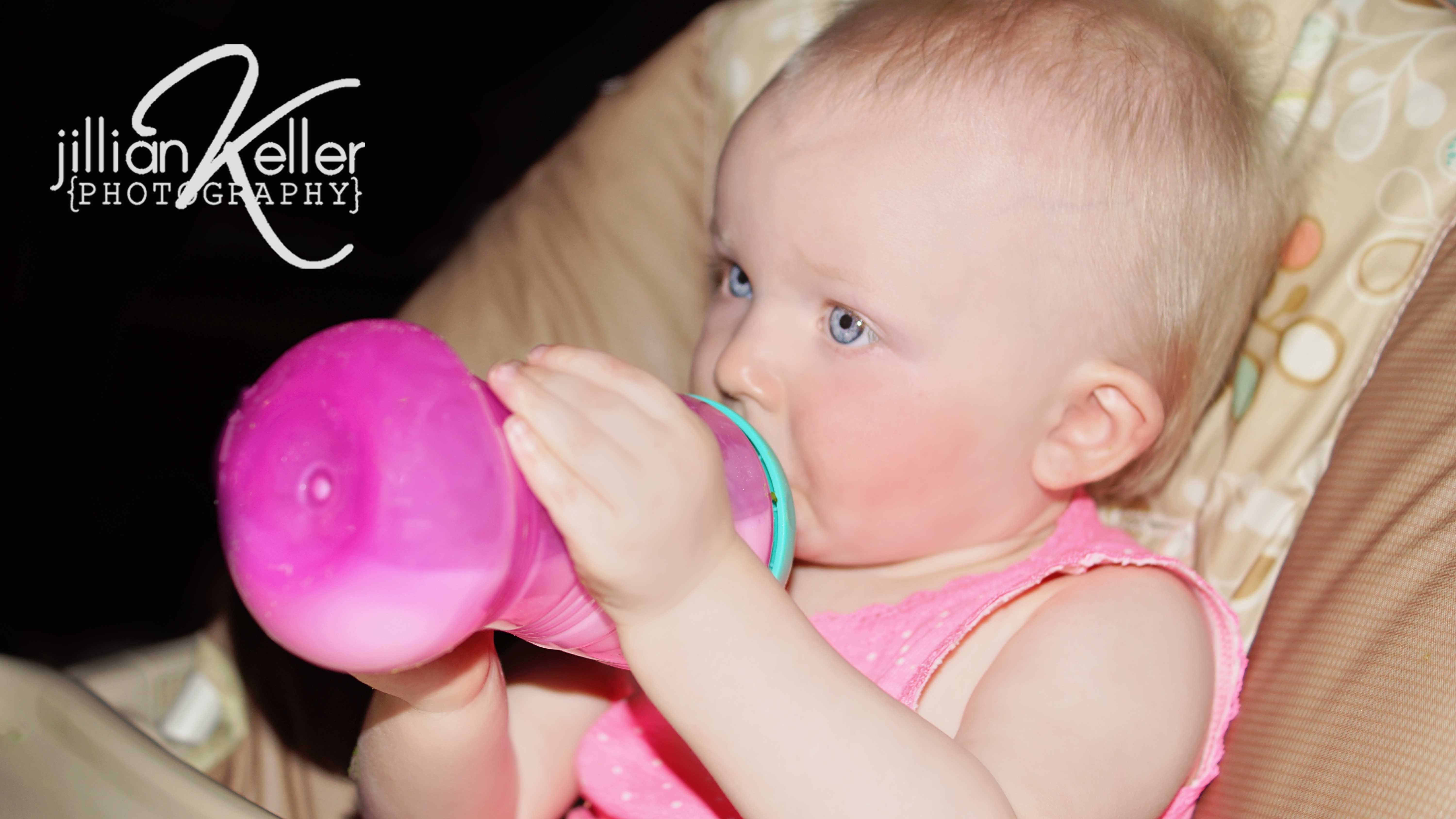 baby photography sippy cup drinking