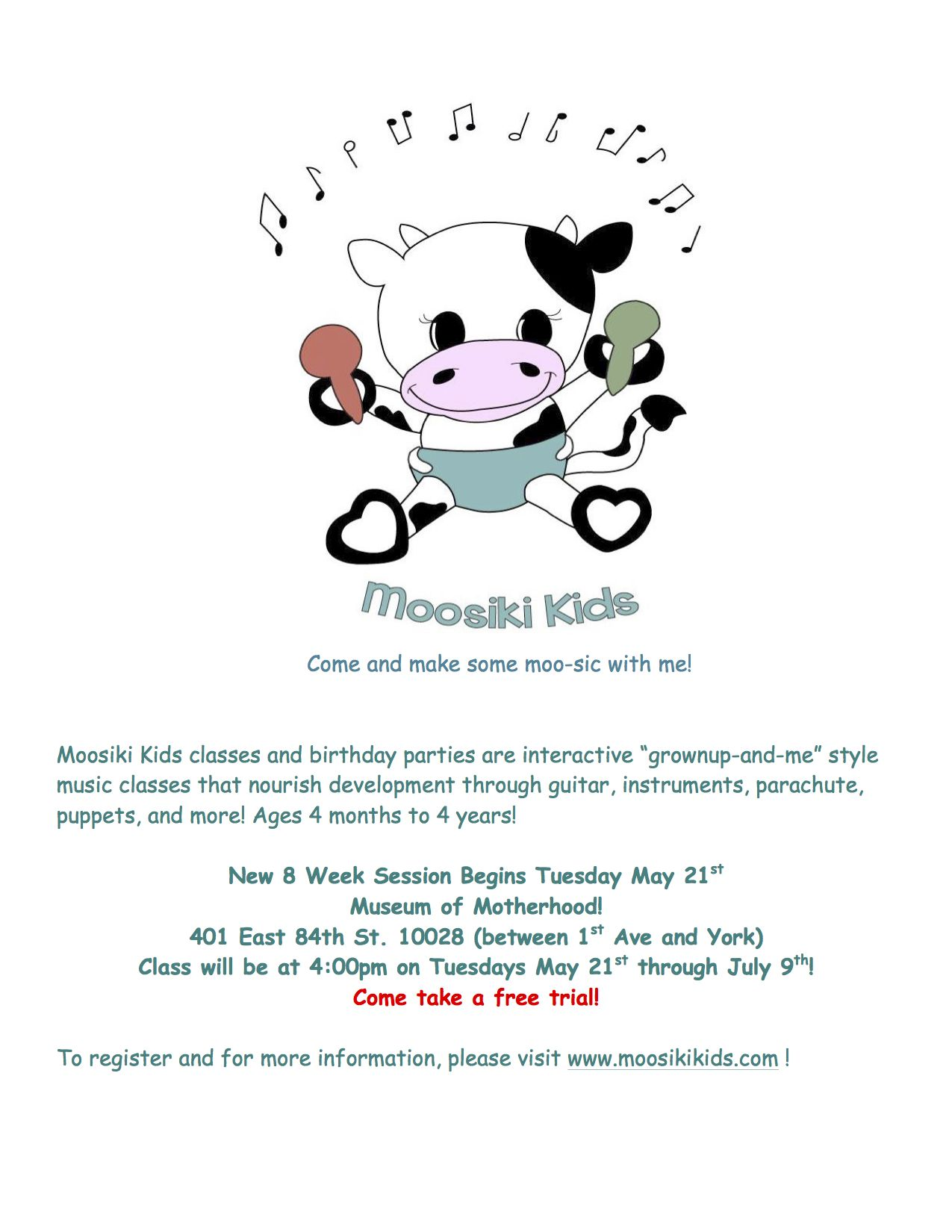 New! #Music classes for #kids - #infant, #toddler and #preschooler - with #Moosiki Kids! Starts Tues., 5/21. MOMmuseum.org for info.