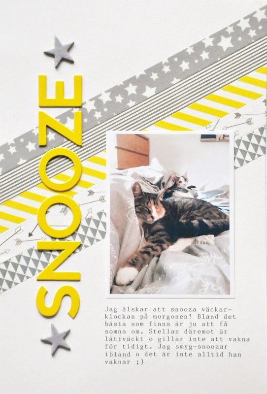Great use for washi tape on a scrapbook layout... use for a bold diagonal design! So simple and such a great impact.
