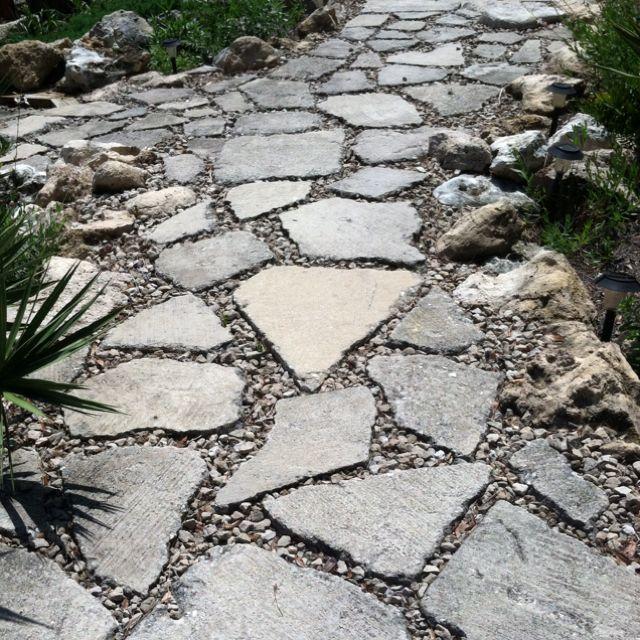 Reclaimed Concrete Blocks: Broken Concrete Walkway