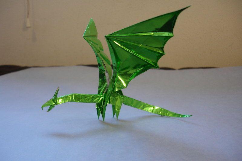 Origami diagram of the green dragon | Green dragon, Origami ... | 533x800