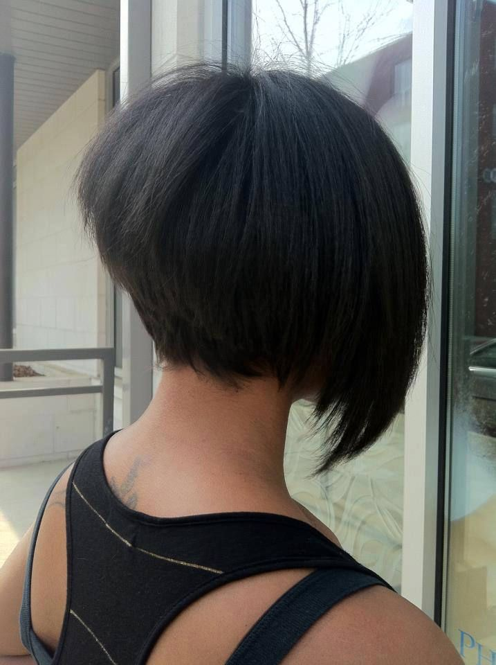 Asymmetrical Short Bob : asymmetrical, short, Bob-hairstyle-for-brides-on-black-bridal-bliss, Stacked, Haircut,, Hairstyles,, Hairstyles