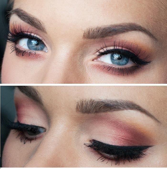 blu eyes, brown orange makeup