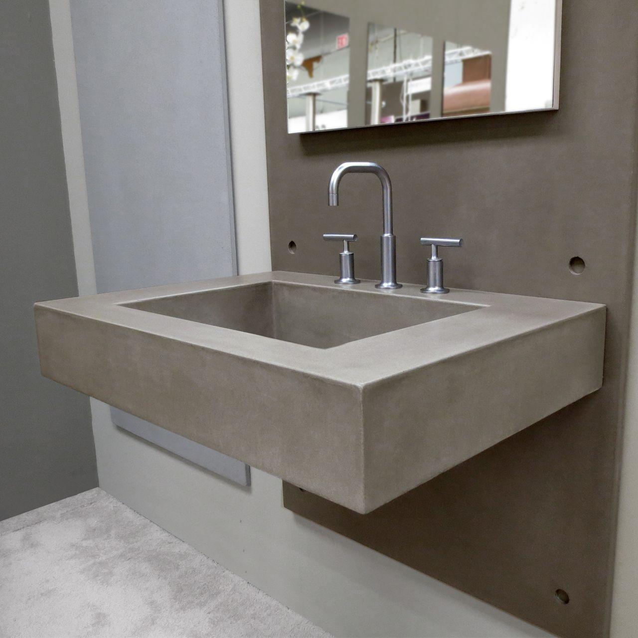 30 Ada Floating Concrete Rectangle Sink Concrete Sink Concrete