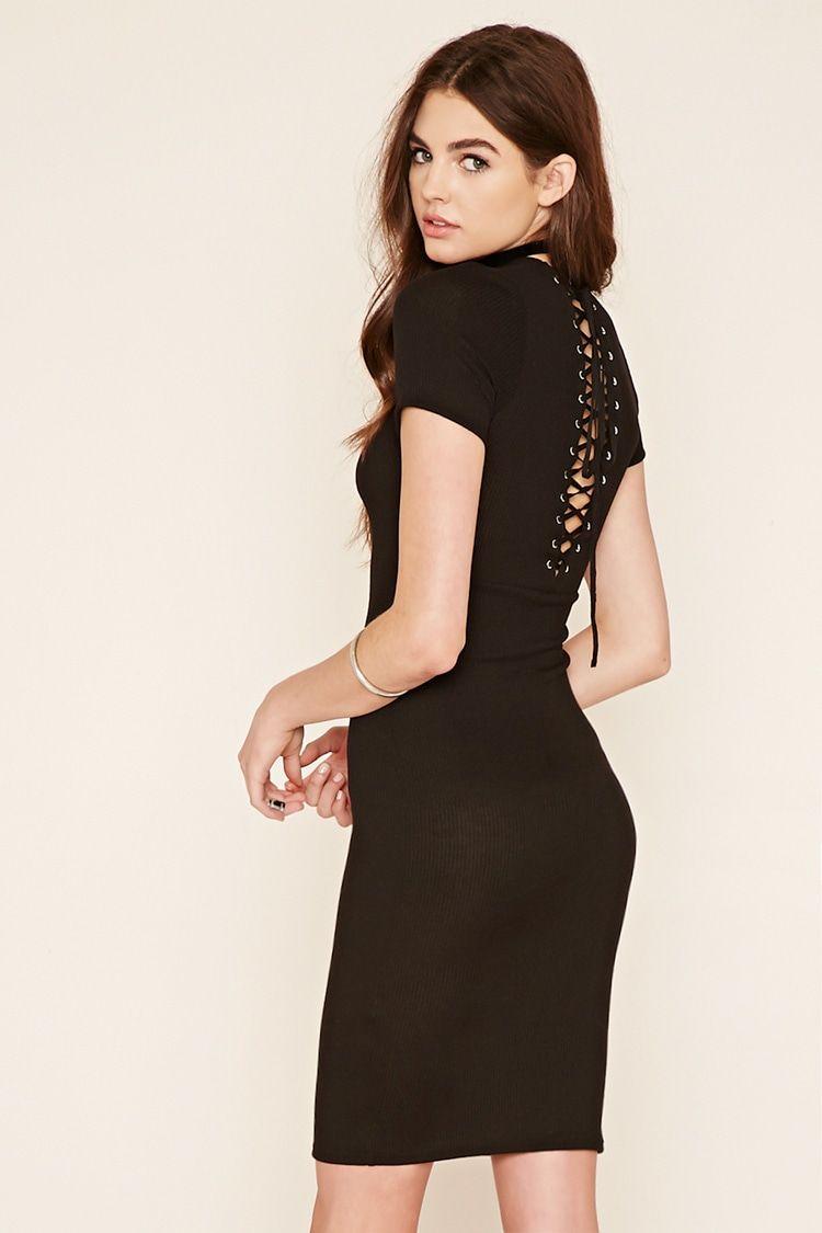 Lace Up Back Midi Dress   Dresses, Fashion outfits, Midi dress style