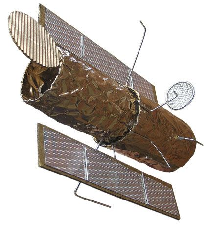 home-made satellite from toilet paper tubes