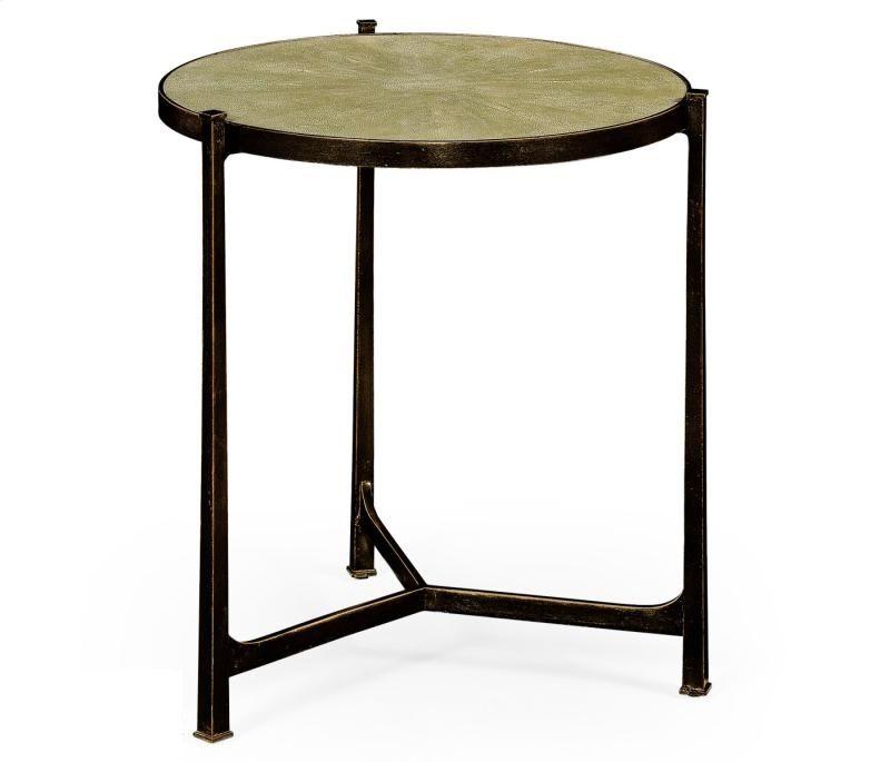 26 Tall Art Deco Iron Shagreen Table Antique Bronze Partner