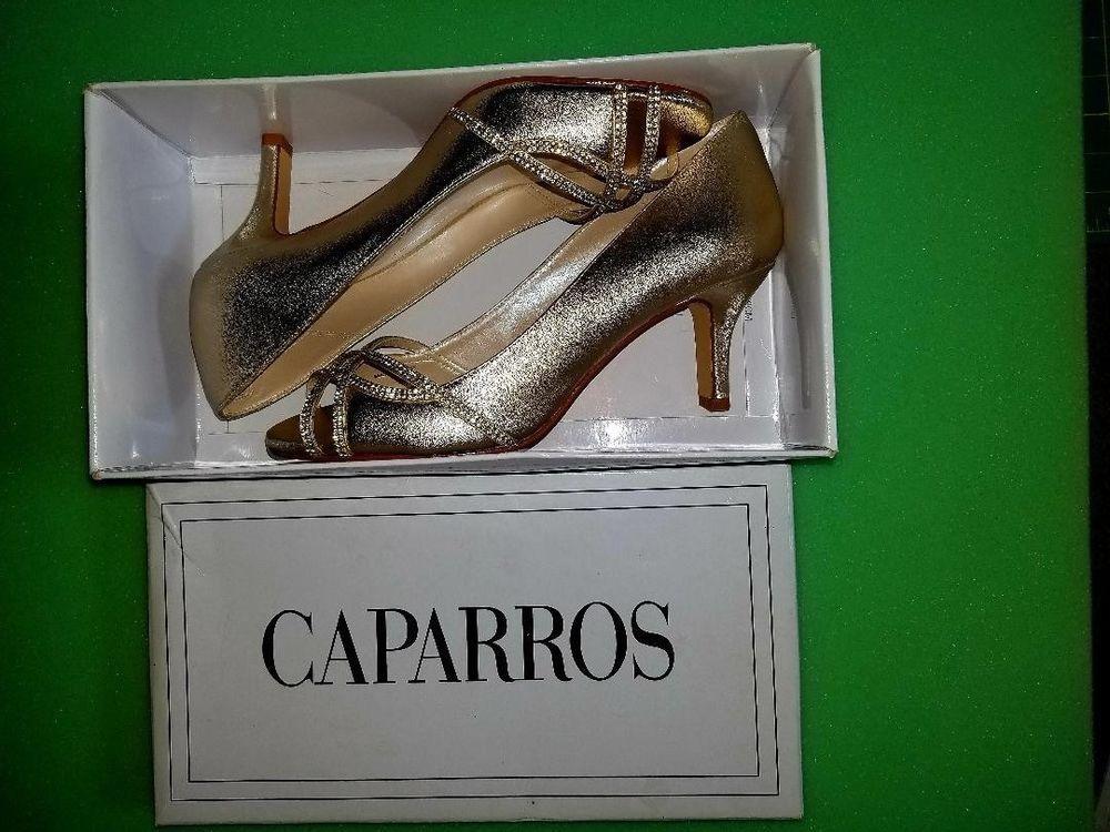 806e847c26d Elegant Caparros Eliza GOLD Metallic Peep-Toe Evening Pumps (New in Box) 8M