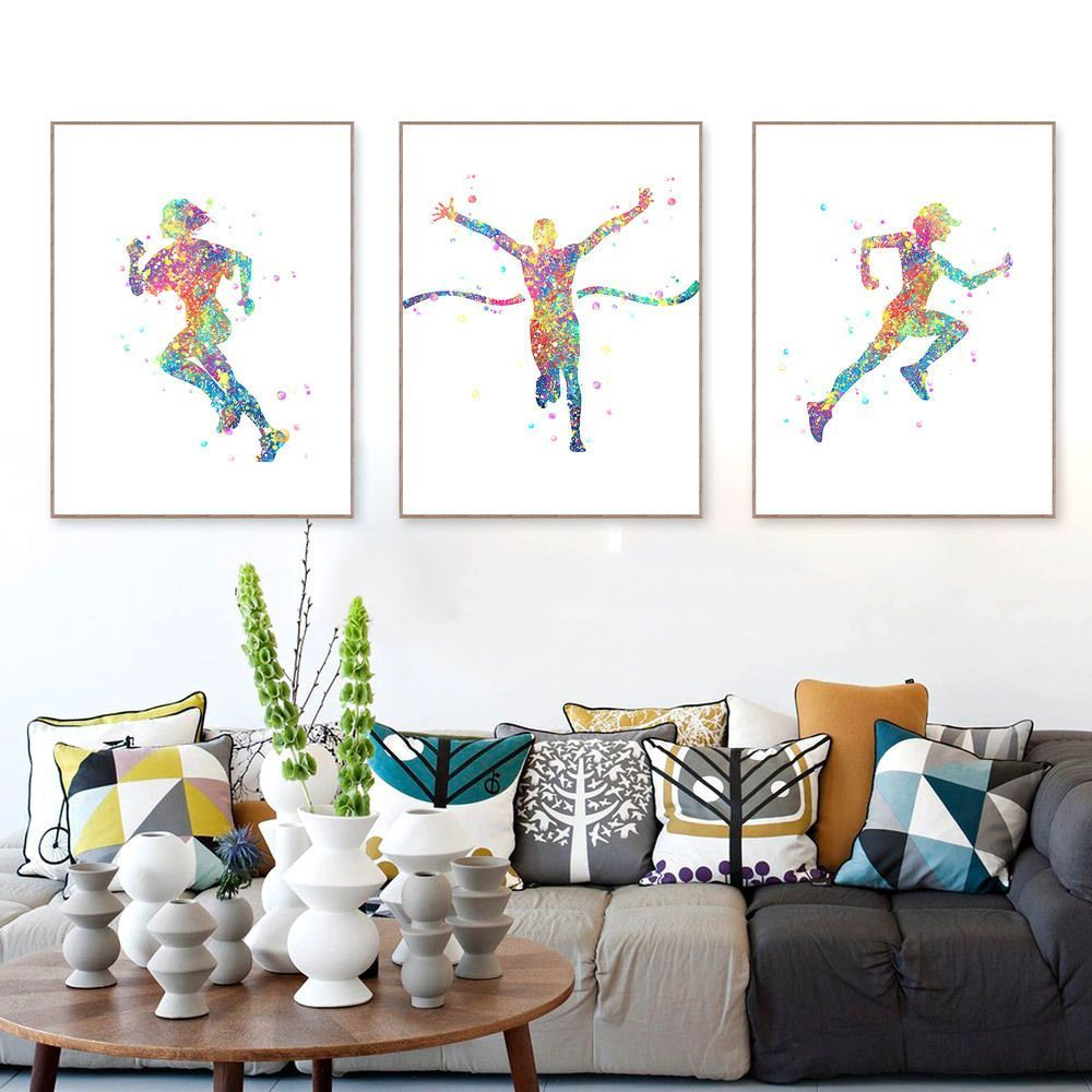 Watercolor run a sports posters modern home decor girl canvas wall