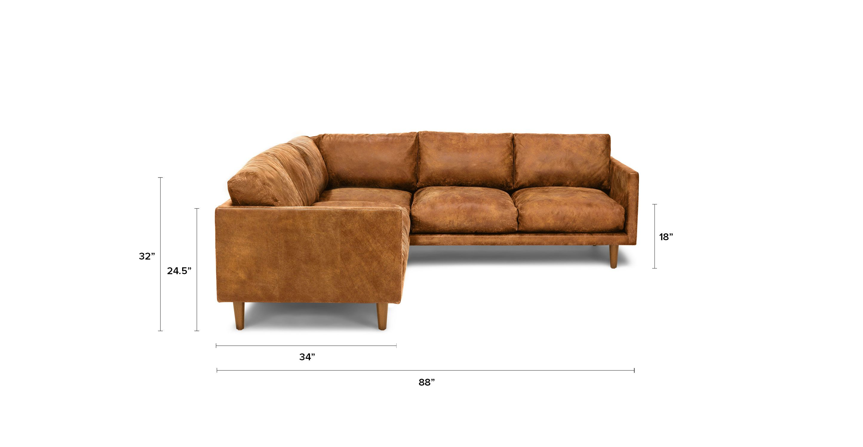 Tan Brown Leather Mid Century Modern Sectional Upholstered