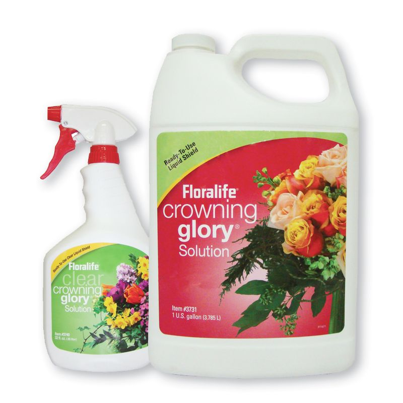 Crowning Glory® de Floralife®. Reduce la perdida de agua, protege la frescura de las flores y mantiene sus colores vivos. Disponible en atomizador de 950 ml y en bote de 1 galón (3.785 litros).