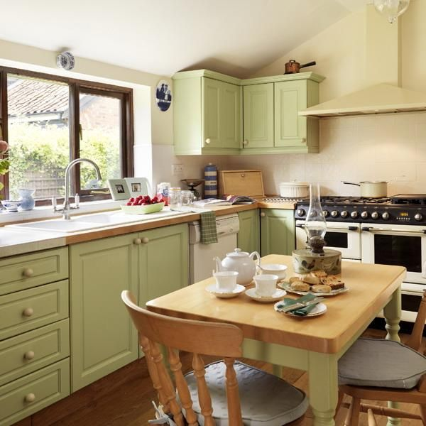 Modern Kitchen Colours And Designs: Oat Color Scheme With Green Pastels For Modern Kitchen