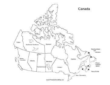 A Printable Map Of Canada Labeled With The Names Of Each Canadian - Map of canada quiz printable