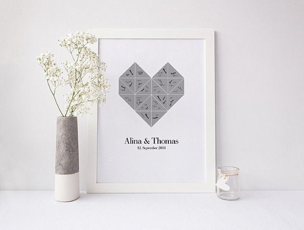 Moderne, minimalistische Hochzeitsgästebücher (die man nach der Hochzeit gerne an die Wand hängt!)