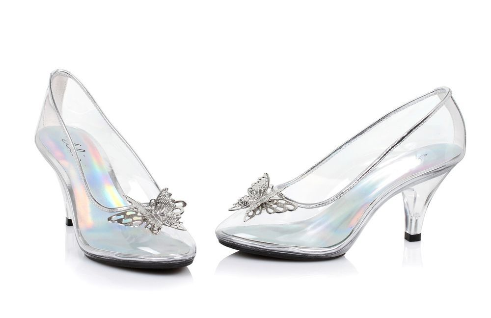 352971bfe01b Clear Glass Slippers Cinderella Costume Shoes Wedding Princess Bridal Heels  8 9