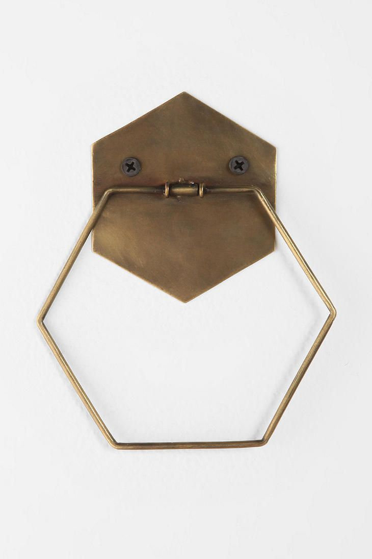 Hexagon Towel Ring Towel Rings Hexagons And Towels - Gold decorative towels for small bathroom ideas
