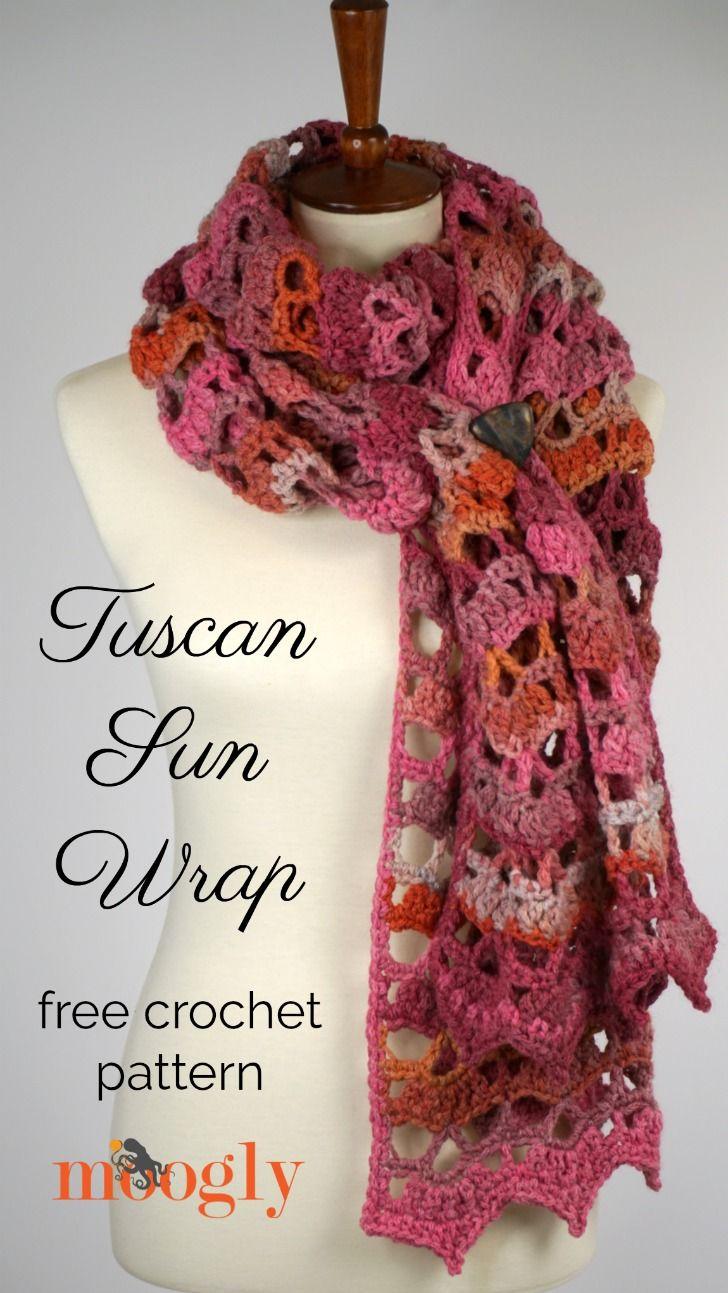 Tuscan Sun Wrap - free crochet pattern on Moogly! | Crochet ...