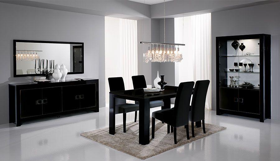 Salle A Manger Complete Noir Laque Design Darka With Images