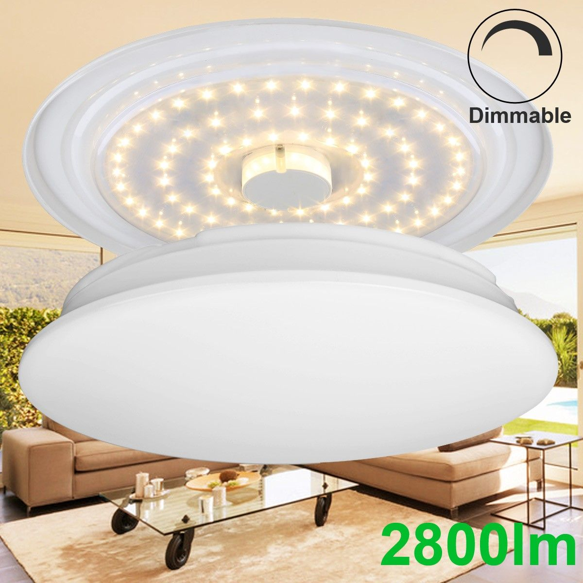 Super Bright 40W Dimmable LED Ceiling Lights, 2800lm, Warm White ...