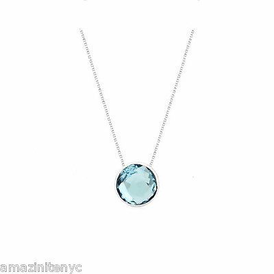 14K White Gold Gemstone Necklace With Fancy Cut Blue Topaz Solitaire 16 Inches