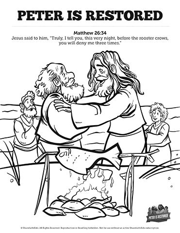 John 21 Peter Is Restored Sunday School Coloring Pages