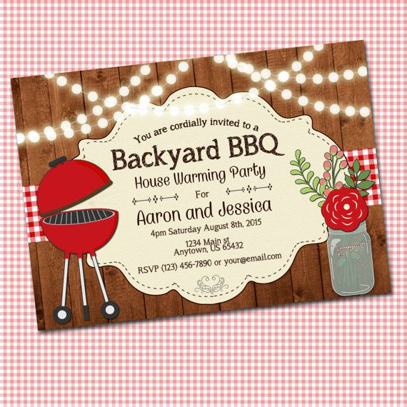 House Warming Party Invitation Backyard BBQ by TheDelightedPeacock - bbq invitation template