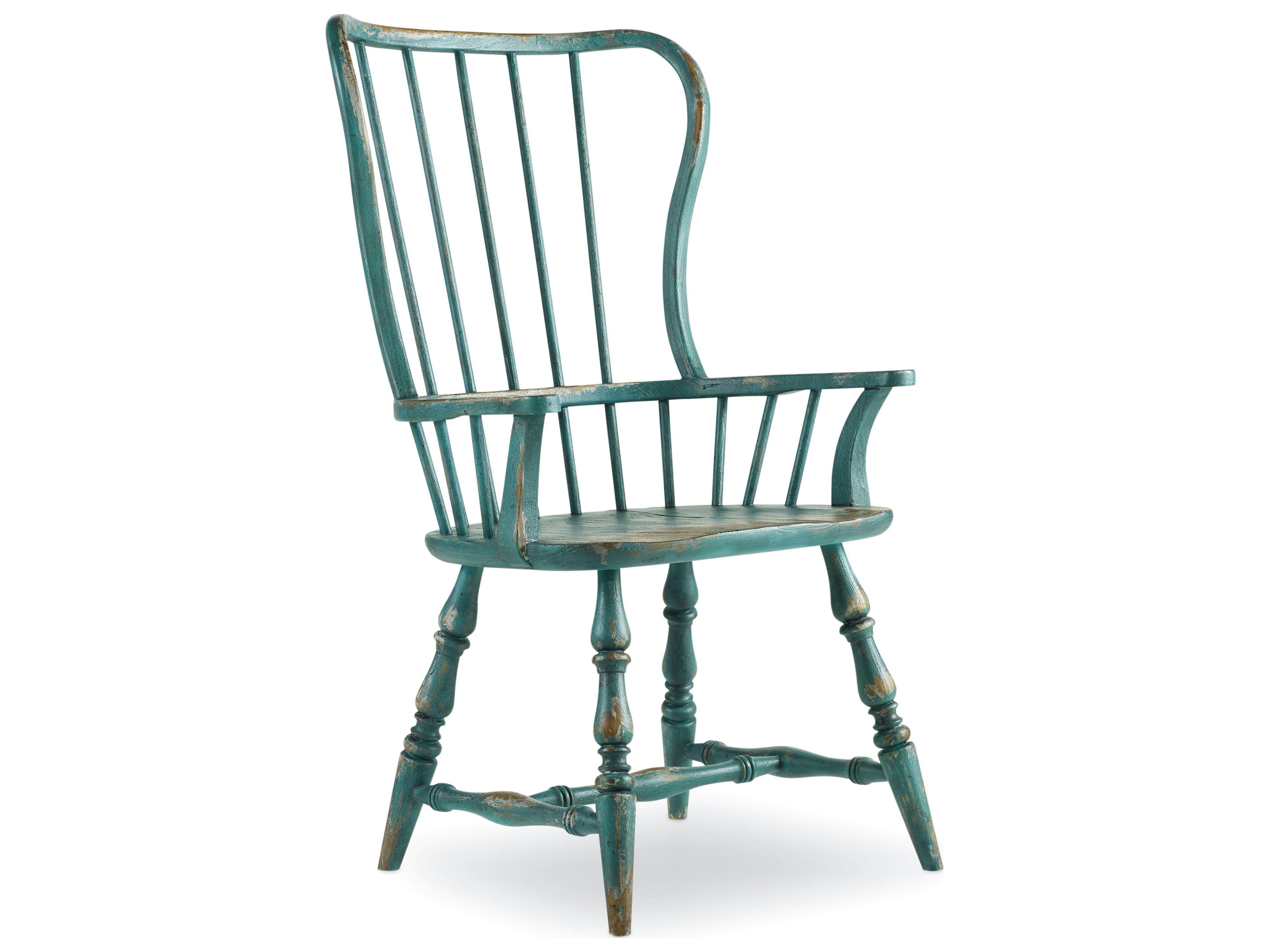 Hooker Furniture Sanctuary Sky High Azure Blue Spindle Dining Arm ...