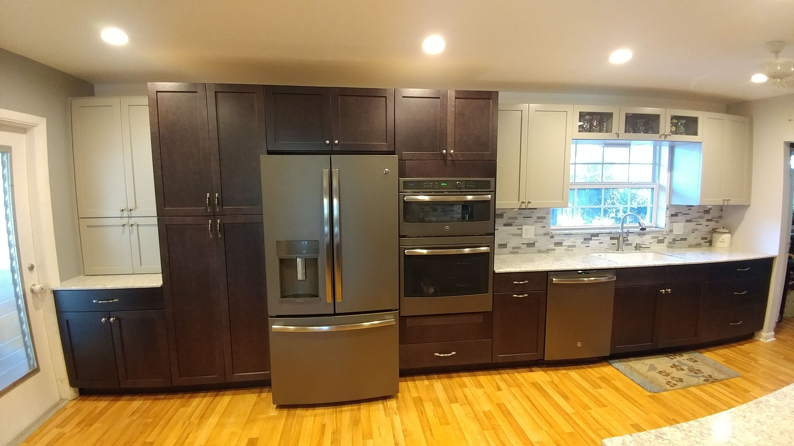 After We Removed A Large Window To Make Room For The Tall Pantry Refrigerator And Double Wall Oven For Our Lovely Homeo Cabinet Two Tone Kitchen Wall Cabinet