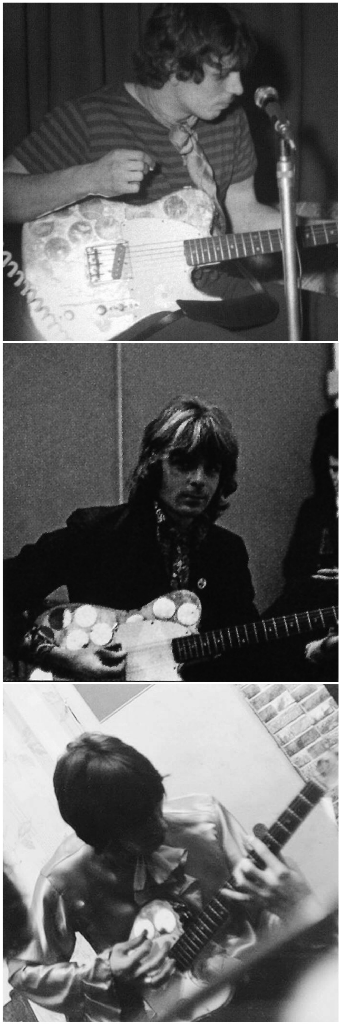 Rick Wright and Roger Waters playing Syd Barrett's mirrored Fender Esquire.