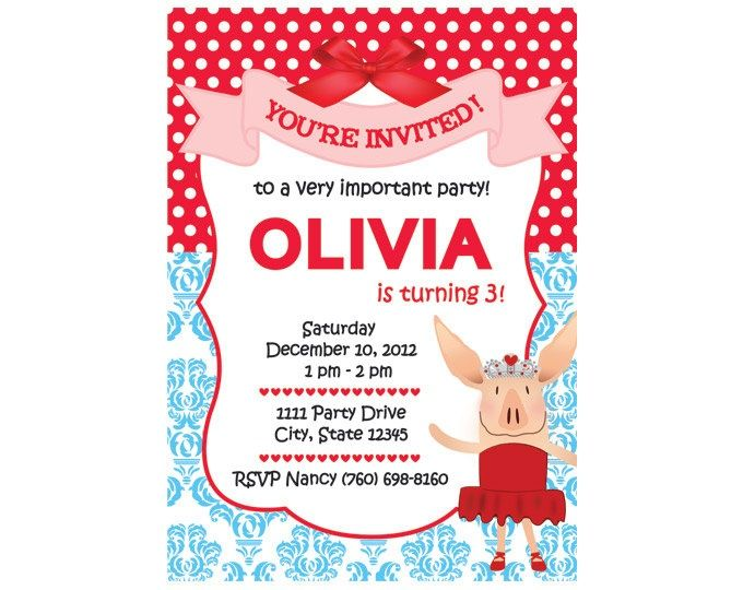Free Olivia the Pig Birthday Invitations Download this invitation