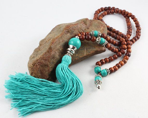Wood Mala Tassel Necklace Turquoise Mala by goodmedicinegemstone
