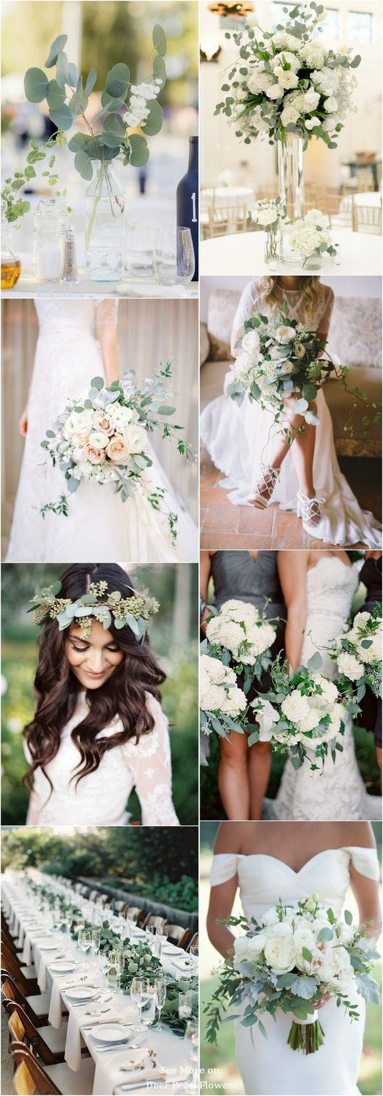 Wedding decorations green  Eucalyptus green wedding color ideas  erpearlflowers