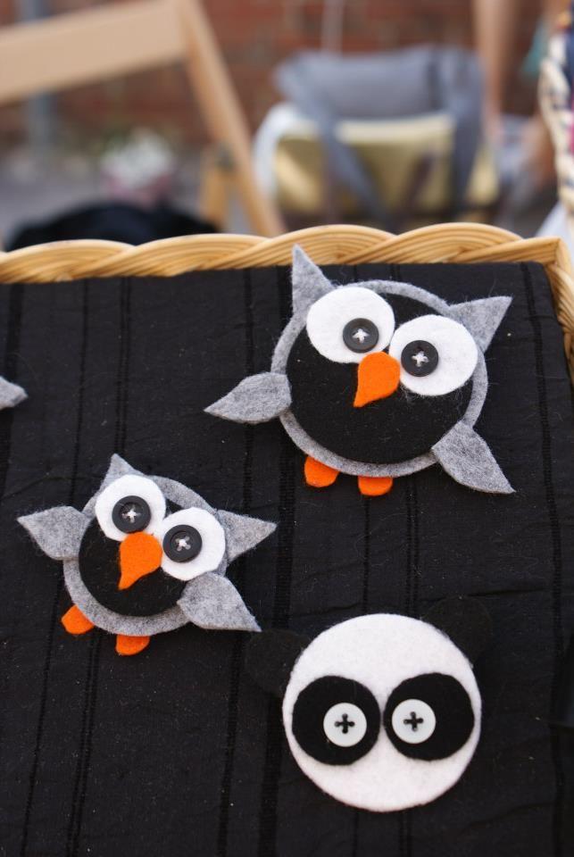 Felt owls and panda!