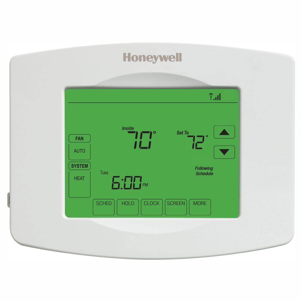 Honeywell Home Wi Fi Programmable Touchscreen Thermostat Free App White Home Thermostat Smart Home Automation Cool Things To Buy