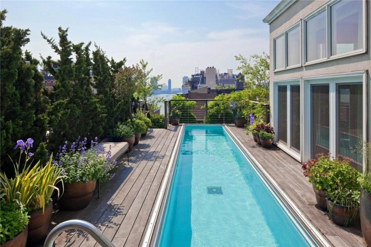 Two Story Penthouse With Stunning Roof Terraces And Swimming Pool In Tribeca Rooftop Pool Amazing Swimming Pools Roof Terrace