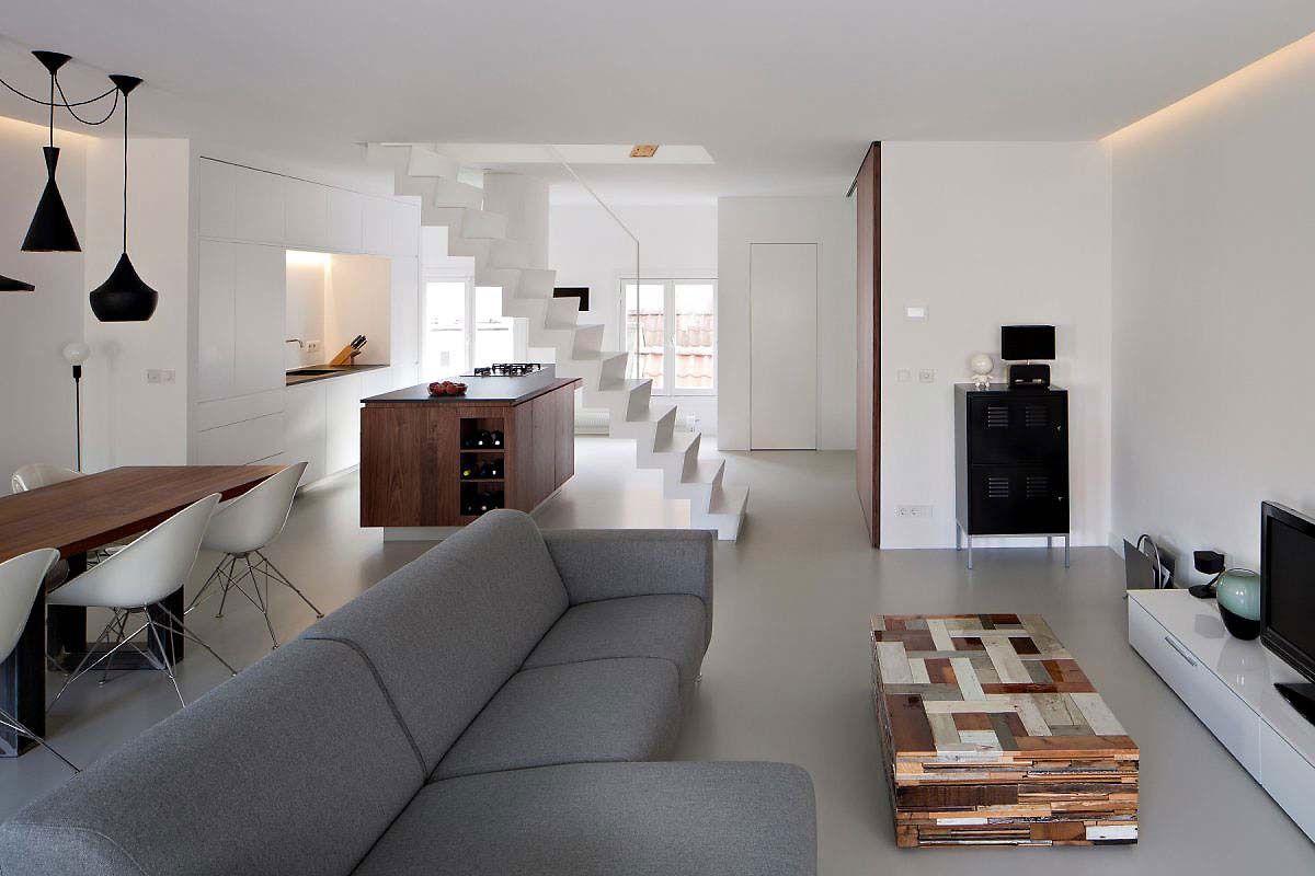 Camera da letto pavimento grigio camera da letto sul soppalco
