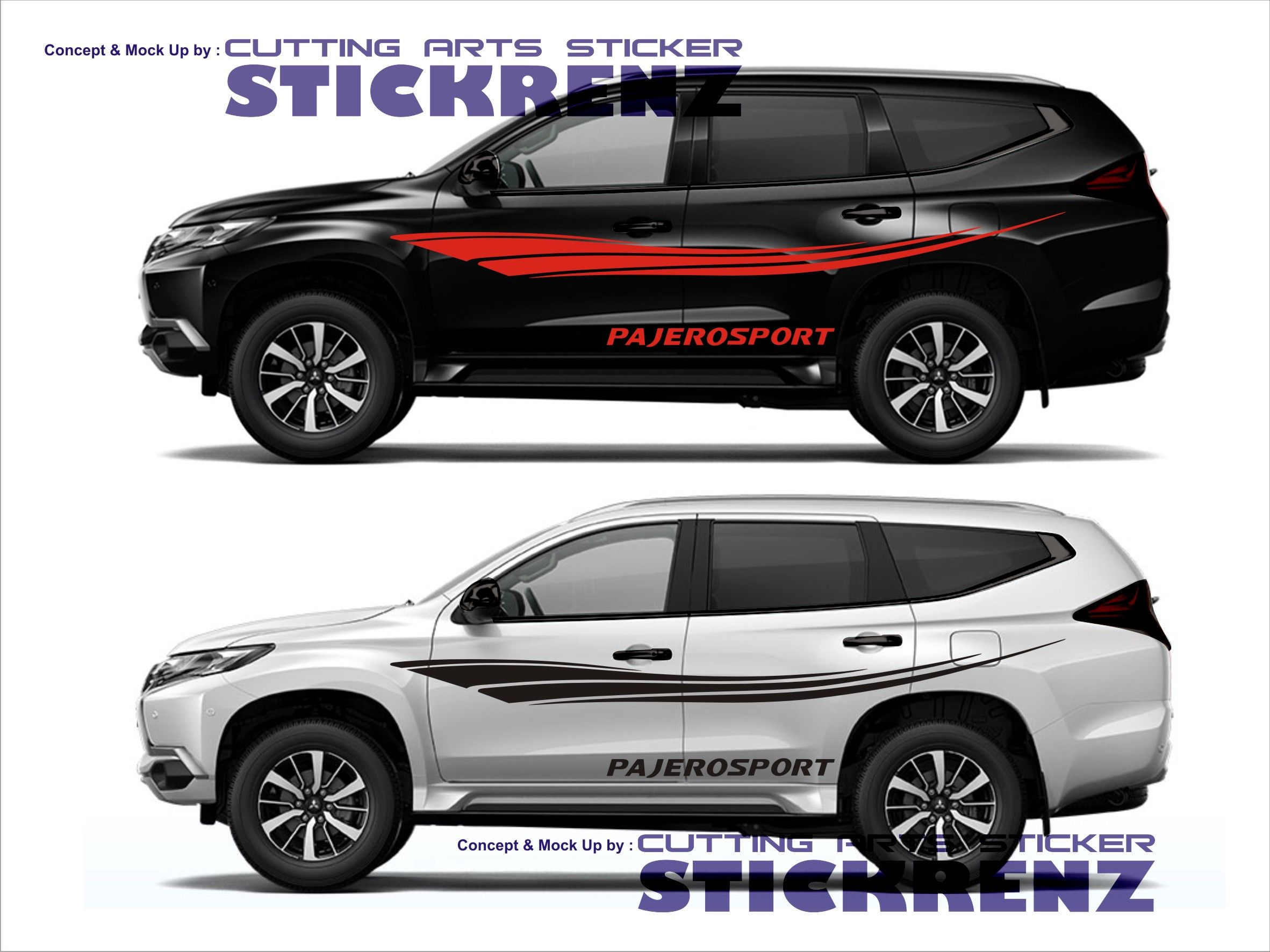 Car custom side cutting sticker concept pajero 006 sticker mobil